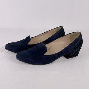 Ron White Blue Suede Shimmer Heel Loafer